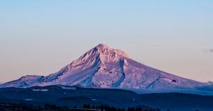 在日落Alpenglow的Mt敞篷 库存照片