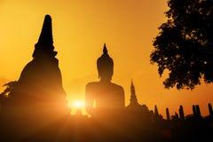 在日落Sukhothai历史公园, Mahathat寺庙,泰国的古老菩萨雕象 免版税库存照片