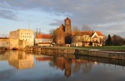 在日落wroclaw之上 免版税图库摄影