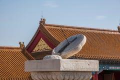在日规前的北京故宫博物院太和寺庙 免版税库存图片