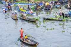 在旧历新年的Nga Nam浮动市场 免版税库存照片