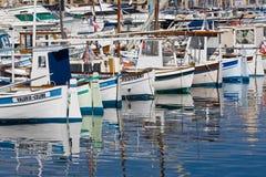 在旧港口,马赛的小船 库存图片