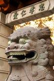 在旧金山中国镇的中国监护人狮子石头狮子 免版税库存照片
