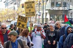 在旧金山抗议,关于耶路撒冷的加州宣称Isreal国会大厦  图库摄影