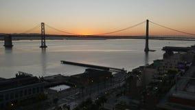 在旧金山湾桥梁的早晨日出 股票视频