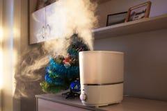 在早晨光的润湿器传播的蒸汽在人为chri附近 免版税库存照片