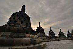 在早晨光的stupas Borobudur寺庙 马格朗 中爪哇省 印度尼西亚 库存照片