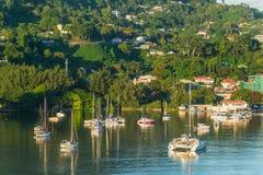 在早晨太阳的帆船在Mahe,塞舌尔群岛 库存照片