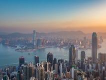在早晨时间的香港视图 免版税库存照片
