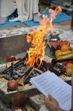 在早期梵文的婚礼的牺牲火 免版税库存照片