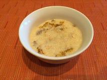 在早餐期间的米kheer 免版税库存照片