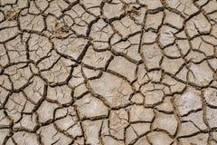在旱季的高明的土壤,全球性变暖/崩裂了干泥/D 免版税库存图片
