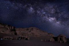 在旱谷El Hitan埃及的Milkyway 库存图片