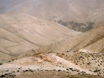 在旱谷Qelt II., Judean沙漠,以色列的沙尘暴 库存图片