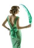 在时尚减速火箭的衣服饰物之小金属片礼服,典雅的晚礼服的妇女羽毛 库存图片