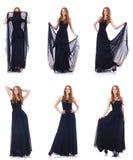 在时尚概念的妇女模型在白色 免版税库存照片