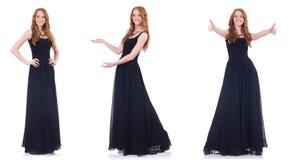在时尚概念的妇女模型在白色 库存照片