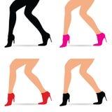在时尚鞋子的妇女腿设置了例证 库存照片