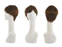 在时装模特头的头发假发 免版税库存图片