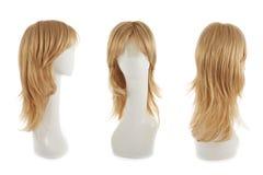 在时装模特头的头发假发 免版税库存照片