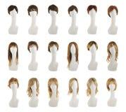 在时装模特头集合的头发假发 免版税库存照片