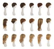 在时装模特头集合的头发假发 免版税库存图片
