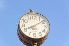 在时钟的鸽子 免版税库存照片
