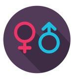 在时髦平的样式的性别象 男人和妇女的符号 库存照片