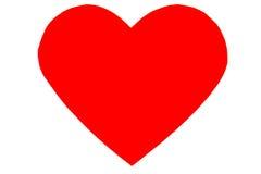 在时髦平的样式的红色心脏被隔绝的 库存图片