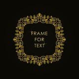 在时髦概述样式的典雅的金黄框架 免版税库存图片