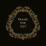 在时髦概述样式的典雅的金黄框架 免版税库存照片
