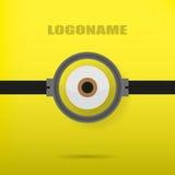 在时髦的商标的一个黄色背景例证的一只眼睛 免版税库存图片