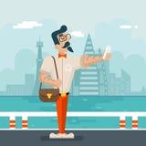 在时髦的城市背景平的设计的富裕的动画片行家怪杰手机Selfie商人字符象 库存图片