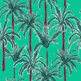 在时髦的绿色薄菏y的明亮和时髦夏天棕榈树 库存例证
