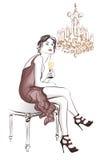 在时髦的装饰的妇女饮用的香槟 库存照片