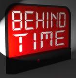 在时间数字钟展示跑后晚或过期 免版税库存照片