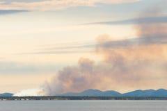 在昆士兰` s山羊座海岸,澳大利亚附近的林区大火 免版税图库摄影