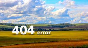 在明亮的五颜六色的领域风景的错误404页与一个风格化水彩框架 免版税图库摄影
