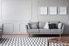 在明亮的客厅灰色墙壁上的狗的海报有舒适的灰色长沙发的有枕头的,与拷贝空间的真正的照片 免版税库存照片
