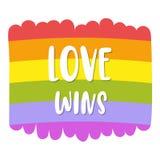 在明亮的彩虹旗子的同性恋自豪日字法,题字爱赢取 LGBT纠正概念 边界月桂树离开橡木丝带模板向量 皇族释放例证