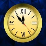 在明亮的抽象背景的圆的时钟 免版税库存图片