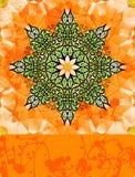 在明亮的桔子的绿色风格化花 免版税库存照片