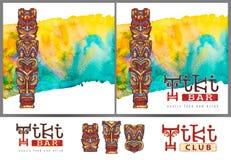 在明亮的水彩背景的水彩绘的Tiki雕象以热带植被的形式 库存照片