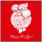 在明亮的红色背景1的滑稽的绵羊 免版税图库摄影
