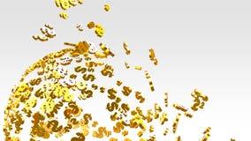 在明亮的背景的金黄美元的符号飞行 免版税库存照片
