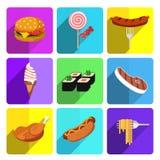 在明亮的背景设置的五颜六色的快餐象 库存图片