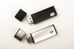 在明亮的背景隔绝的两USB笔驱动 免版税库存图片