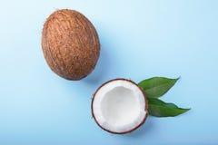 在明亮的蓝色背景的可口椰子 新鲜,成熟和开胃椰子 一半椰子 健康生活方式 免版税库存图片