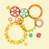 在明亮的难看的东西镶边背景的五颜六色的齿轮 免版税库存图片