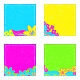 在明亮的霓虹颜色的贴纸与花卉笔记 免版税库存图片